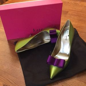 Kate Spade Latrice Lime Pink Purple Satin Pumps